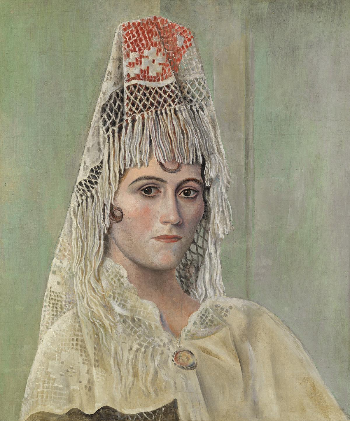 Pablo Picasso. Olga Khokhlova à la mantille Barcelone, 1917. Huile sur toile. 64 x 53 cm Droit auteur:©Succession Picasso, 2017. Crédit photo : © Photo: Equipo Gasull