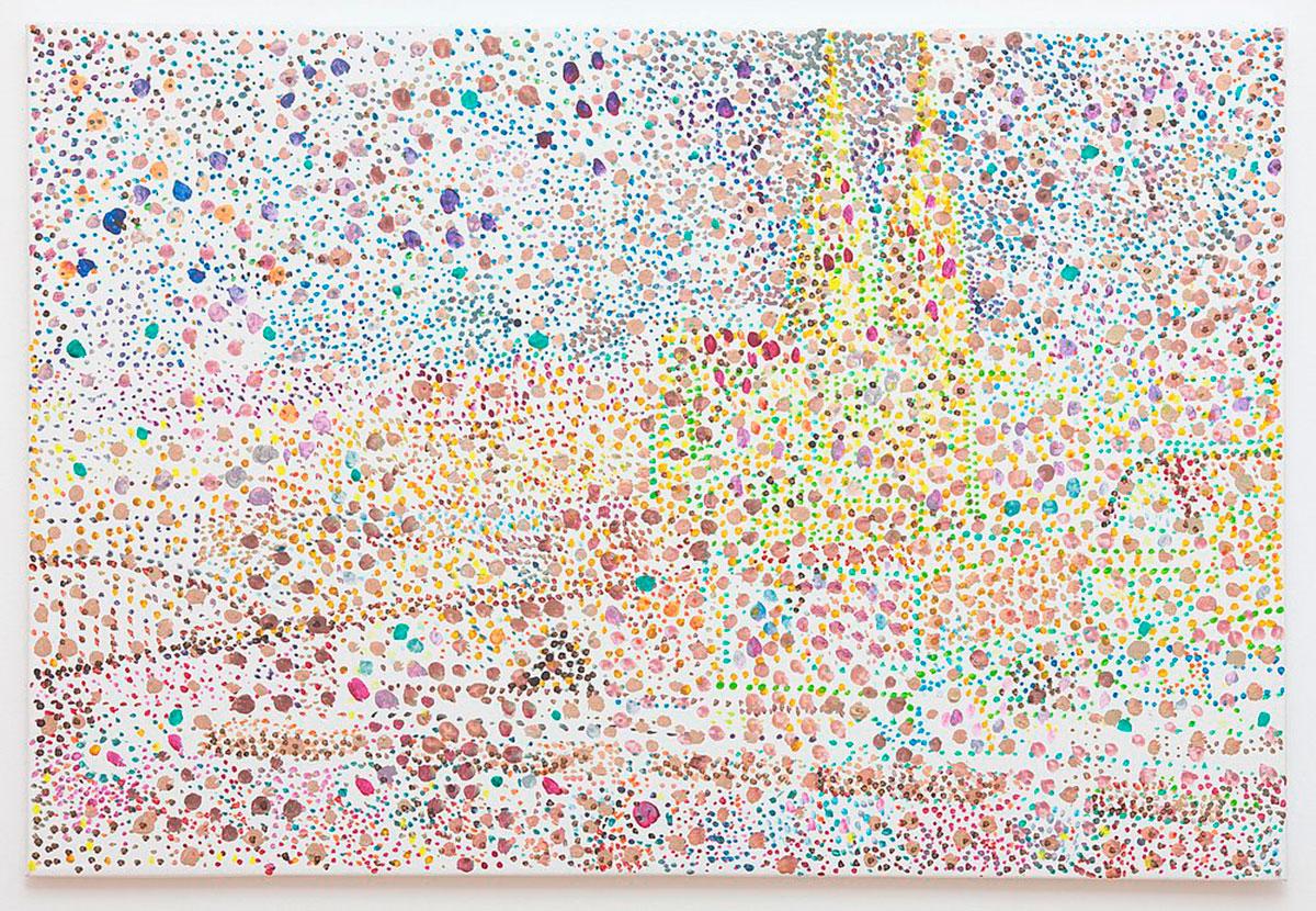 Reena Spaulings, Post Card (Köln am Rhein) (I), 2010 Detail, Diptychon, Acryl auf Leinwand, je 20 x 15 x 12 cm, © Courtesy of the artist und Galerie Buchholz, Berlin/Cologne/New York