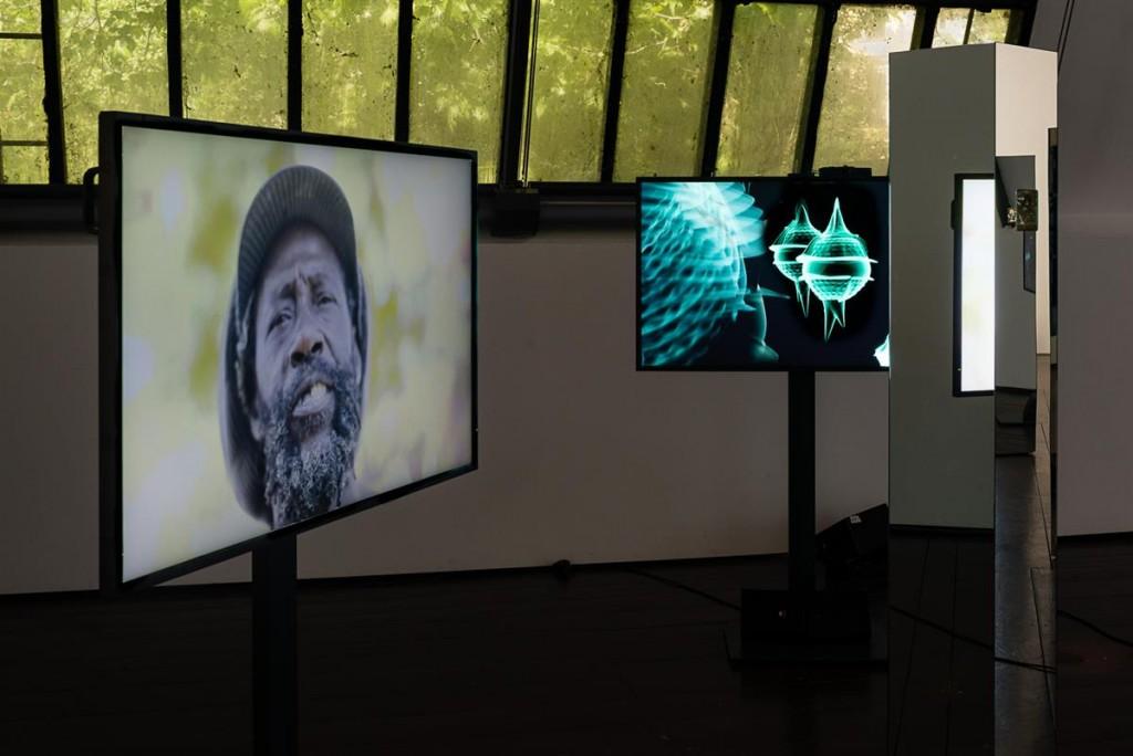 Mixed media installation and CGI animation Dimensions variable Copyright: © Installation view: Susanne M. Winterling, Glistening Troubles, Tidalectics, Thyssen-Bornemisza Art Contemporary, Vienna, 2017 Photo: Jorit Aust