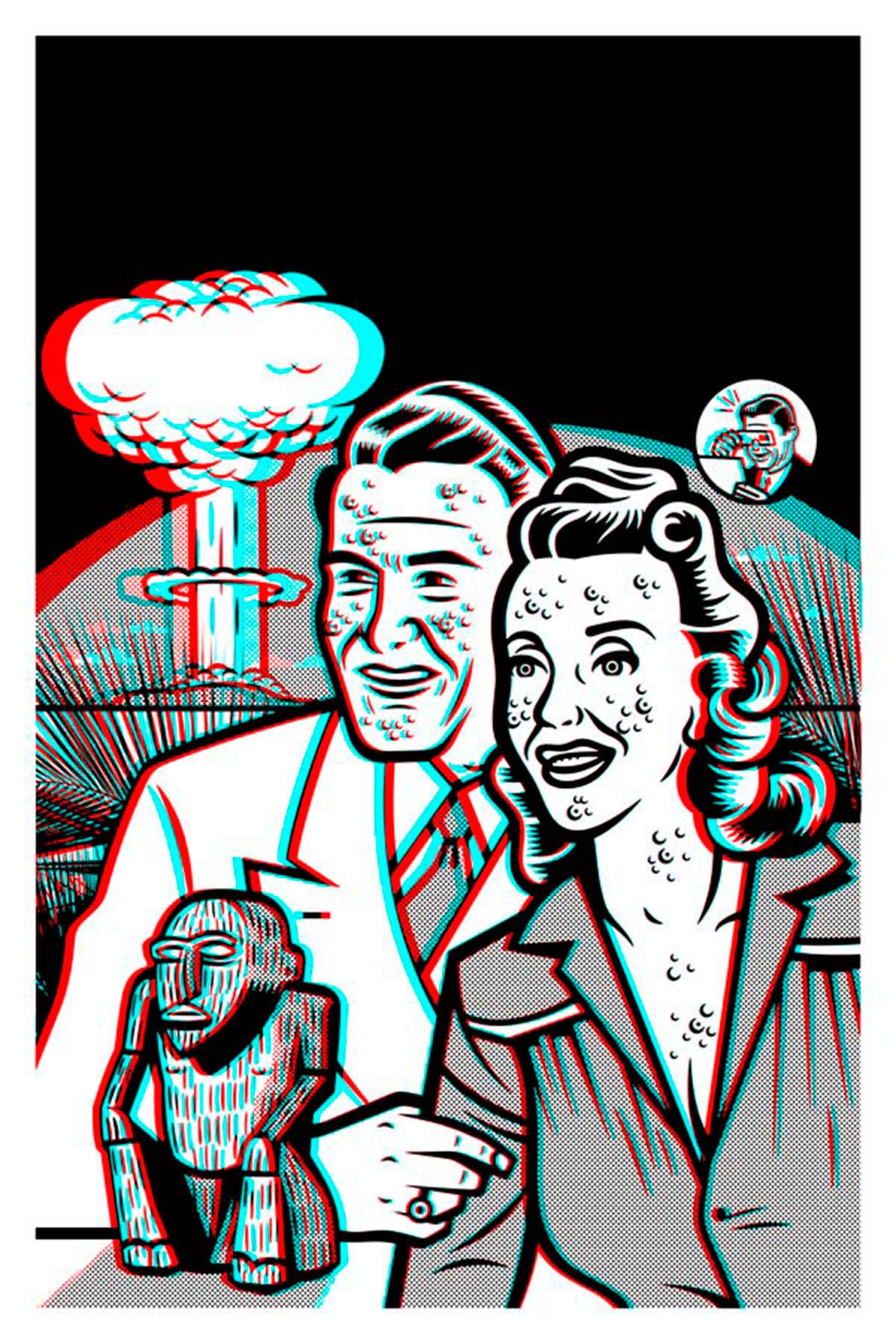 Ilustración para el cartel de su exposición en La Fiambrera