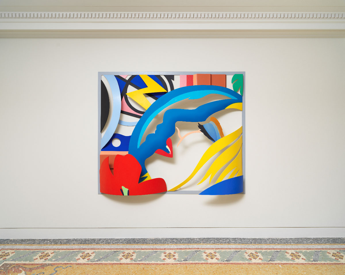 Exposition Tom Wesselmann, La Promesse du Bonheur Nouveau Musée National de Monaco - Villa Paloma  Tom Wesselmann Bedroom   Face  with  Lichtenstein	[ Artist's Variation}, 1988-92 Huile sur aluminium découpé / 0il on cut-out aluminum 1?2,?x208,3x33 cm  Photo NMNM/Jeffrey Sturges, 2018 © The Estate of Tom Wesselmann/ Licensed by VAGA, New York