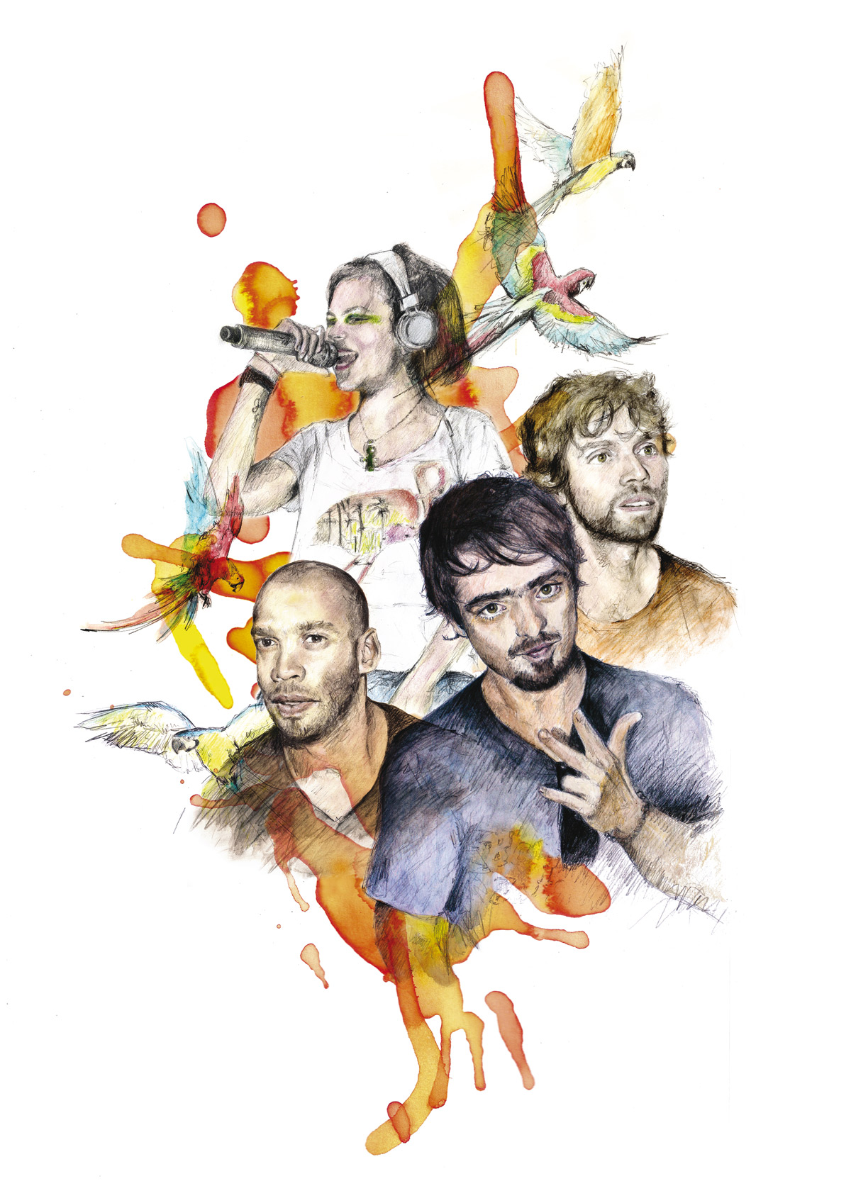Bomba Estéreo. Cuatro espíritus libres: Kike Egurrola (batería), Julián Salazar (guitarra), Li Saumet (voz) y Simón Mejía (germen e ideólogo del grupo). Ilustración: Esther de la Torre.